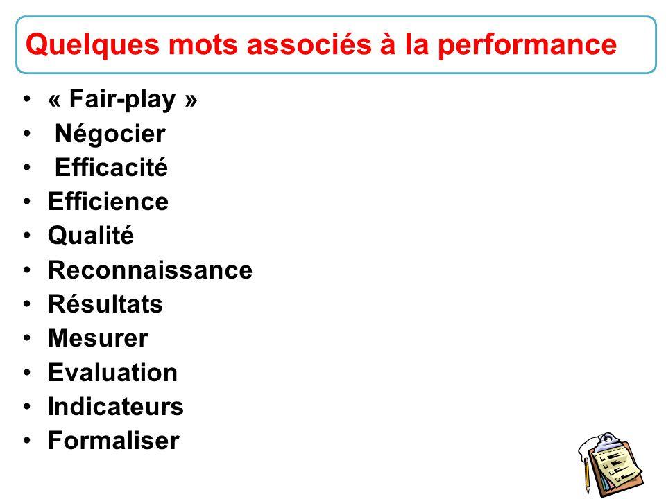 8 « Fair-play » Négocier Efficacité Efficience Qualité Reconnaissance Résultats Mesurer Evaluation Indicateurs Formaliser Quelques mots associés à la