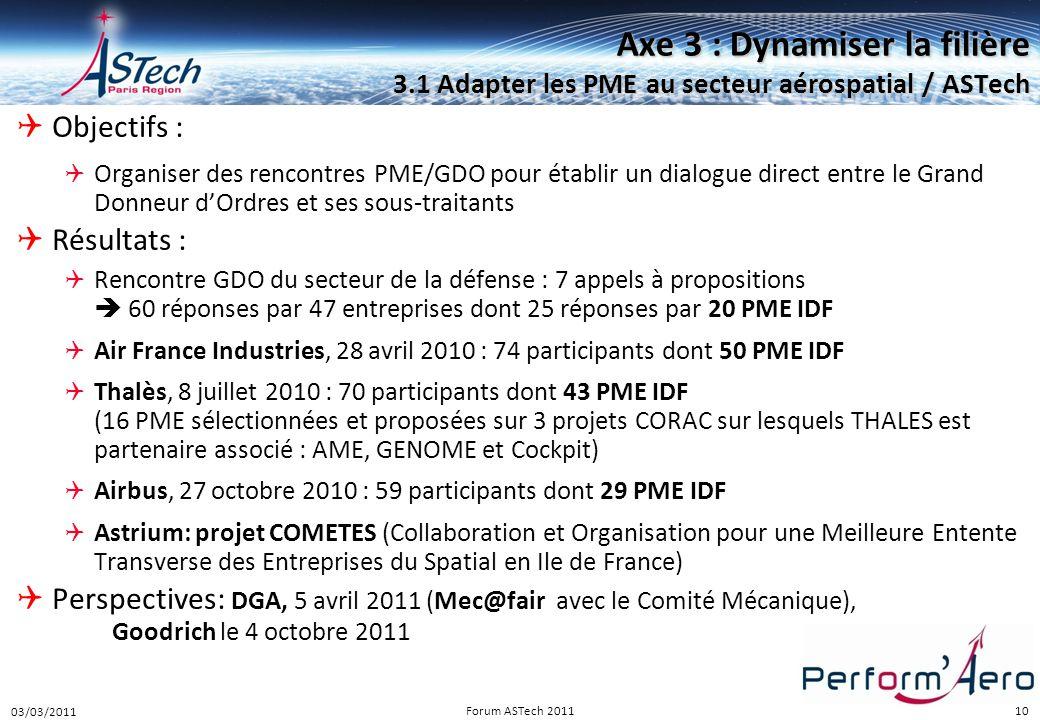 10 Axe 3 : Dynamiser la filière 3.1 Adapter les PME au secteur aérospatial / ASTech  Objectifs :  Organiser des rencontres PME/GDO pour établir un d