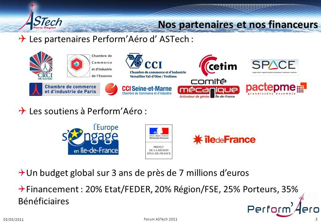 3  Les partenaires Perform'Aéro d' ASTech :  Les soutiens à Perform'Aéro :  Un budget global sur 3 ans de près de 7 millions d'euros  Financement