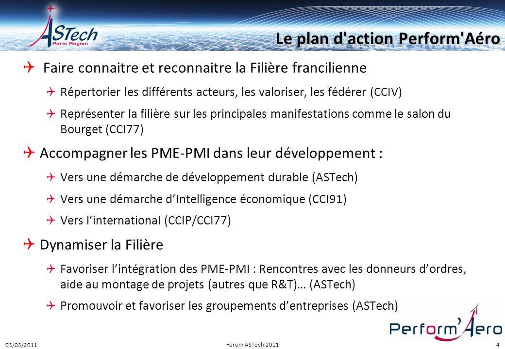 4 Le plan d'action Perform'Aéro  Faire connaitre et reconnaitre la Filière francilienne  Répertorier les différents acteurs, les valoriser, les fédé