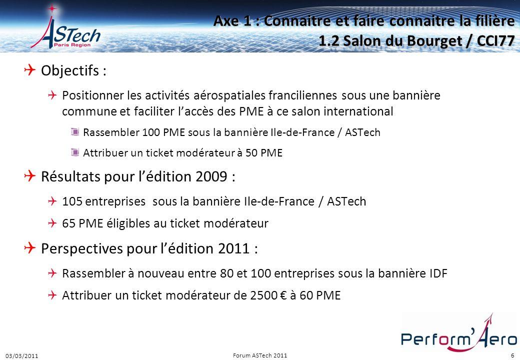 6 Axe 1 : Connaitre et faire connaitre la filière 1.2 Salon du Bourget / CCI77  Objectifs :  Positionner les activités aérospatiales franciliennes s