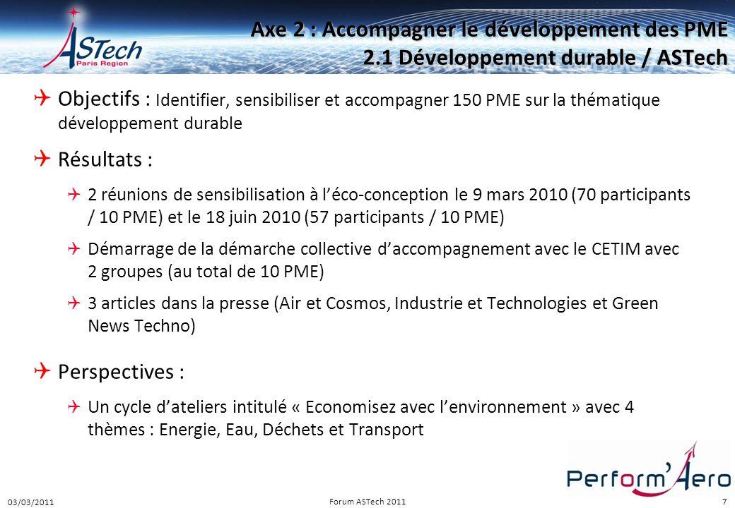 7 Axe 2 : Accompagner le développement des PME 2.1 Développement durable / ASTech  Objectifs : Identifier, sensibiliser et accompagner 150 PME sur la