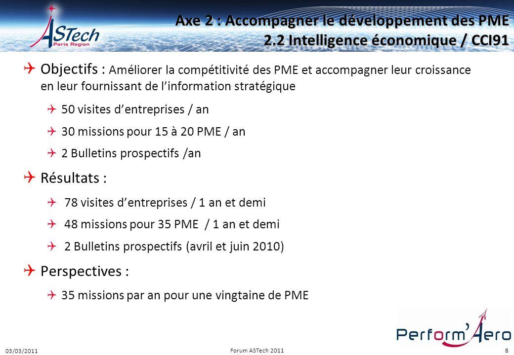 8 Axe 2 : Accompagner le développement des PME 2.2 Intelligence économique / CCI91  Objectifs : Améliorer la compétitivité des PME et accompagner leu
