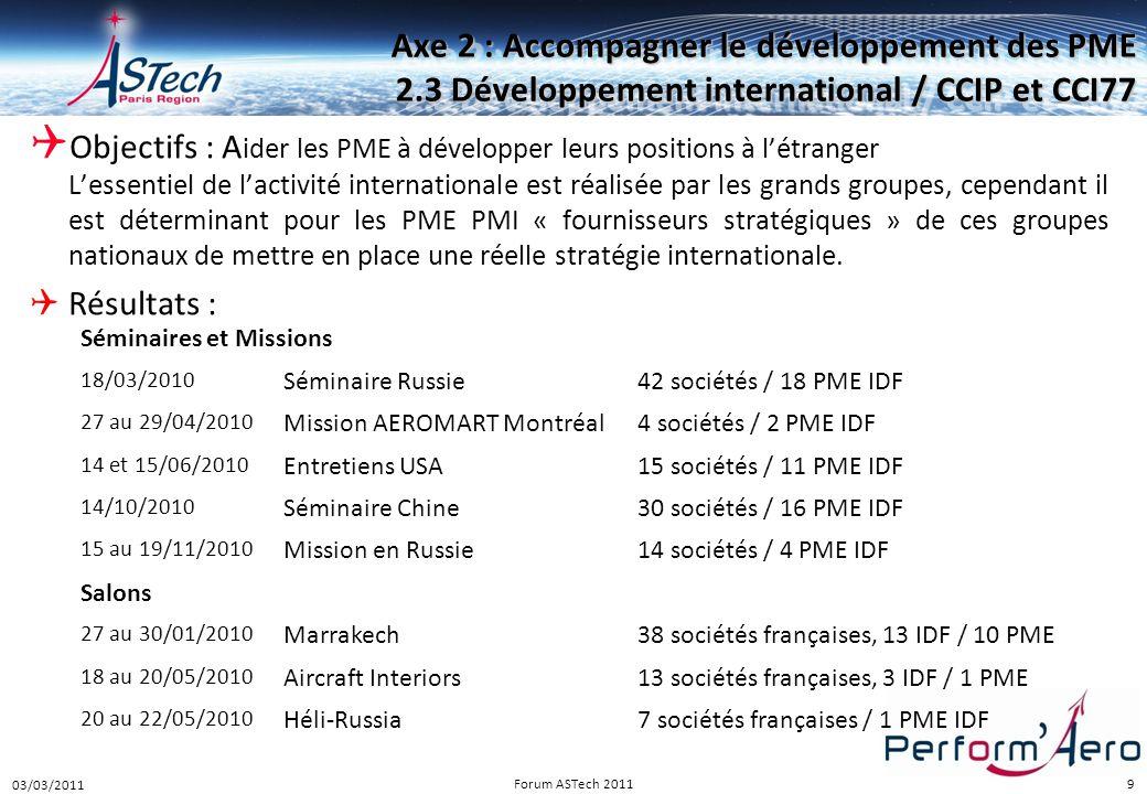 9 Axe 2 : Accompagner le développement des PME 2.3 Développement international / CCIP et CCI77  Objectifs : A ider les PME à développer leurs positio