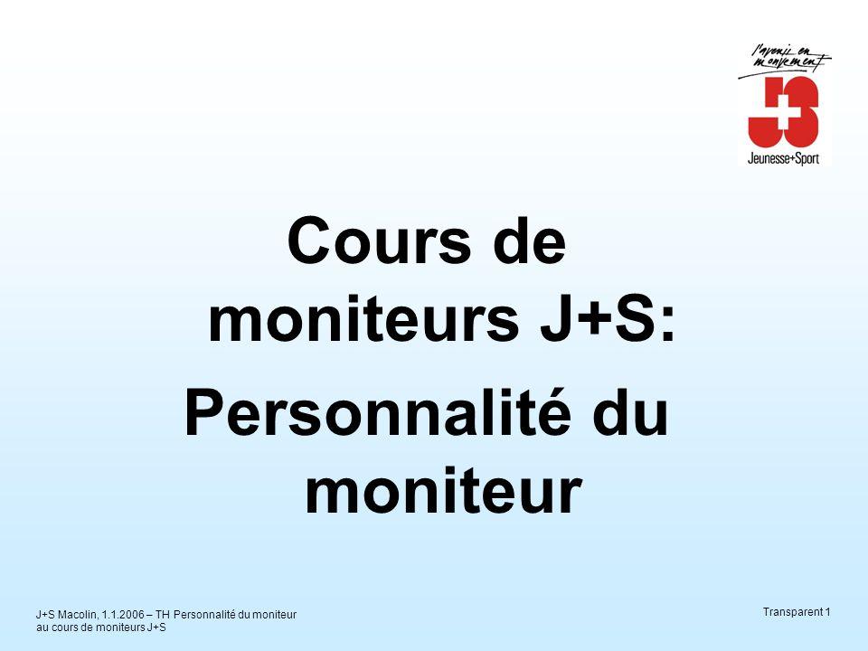 J+S Macolin, 1.1.2006 – TH Personnalité du moniteur au cours de moniteurs J+S Transparent 1 Cours de moniteurs J+S: Personnalité du moniteur