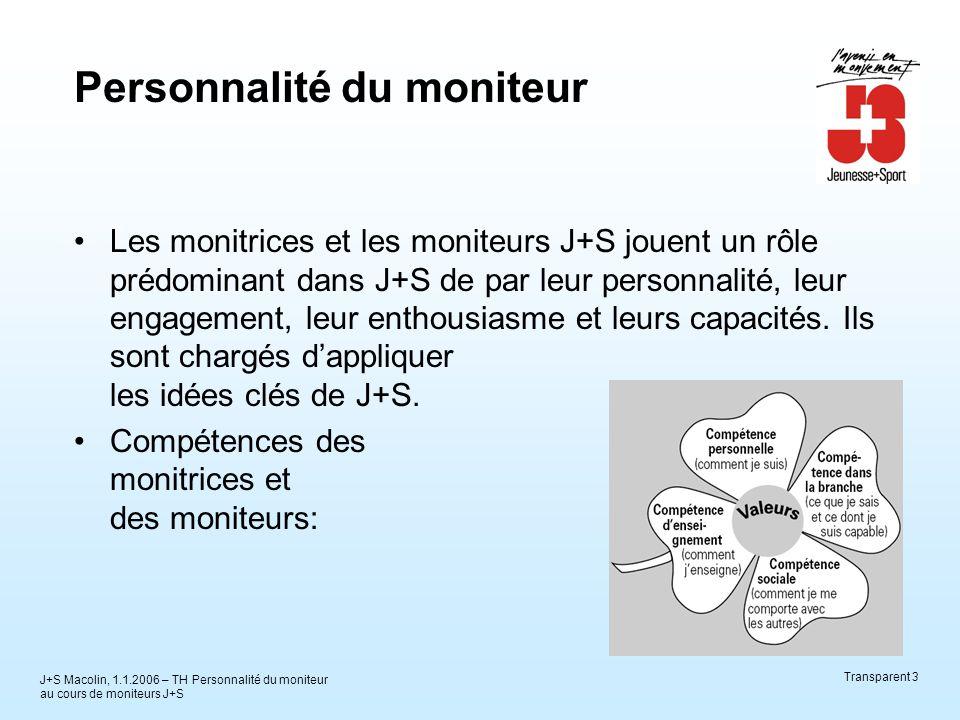 J+S Macolin, 1.1.2006 – TH Personnalité du moniteur au cours de moniteurs J+S Transparent 3 Personnalité du moniteur Les monitrices et les moniteurs J+S jouent un rôle prédominant dans J+S de par leur personnalité, leur engagement, leur enthousiasme et leurs capacités.