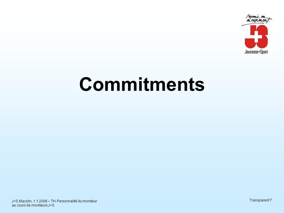J+S Macolin, 1.1.2006 – TH Personnalité du moniteur au cours de moniteurs J+S Transparent 8 Cela nous le gardons à l'esprit – Commitment Un instrument «adapté» au groupe.