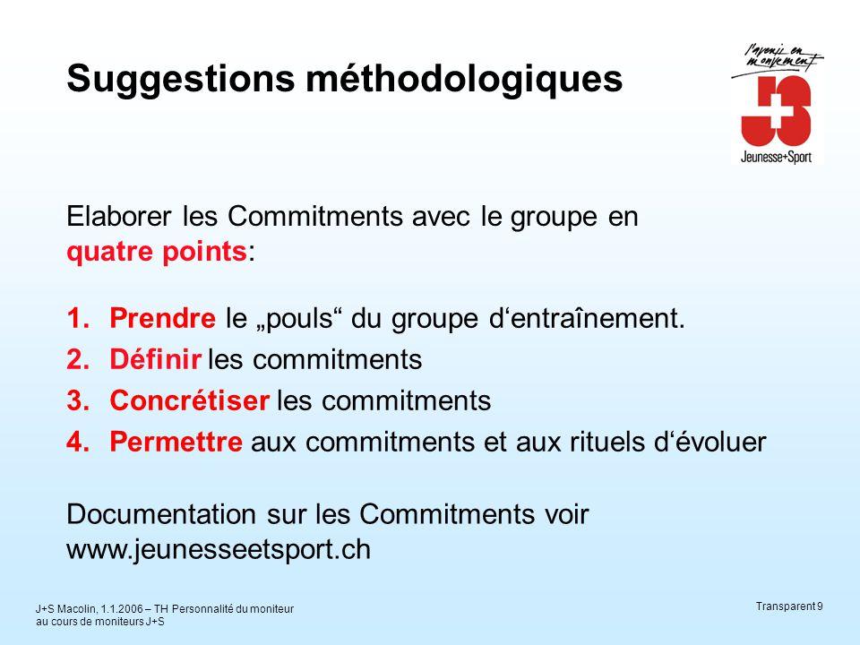 """J+S Macolin, 1.1.2006 – TH Personnalité du moniteur au cours de moniteurs J+S Transparent 9 Suggestions méthodologiques Elaborer les Commitments avec le groupe en quatre points: 1.Prendre le """"pouls du groupe d'entraînement."""