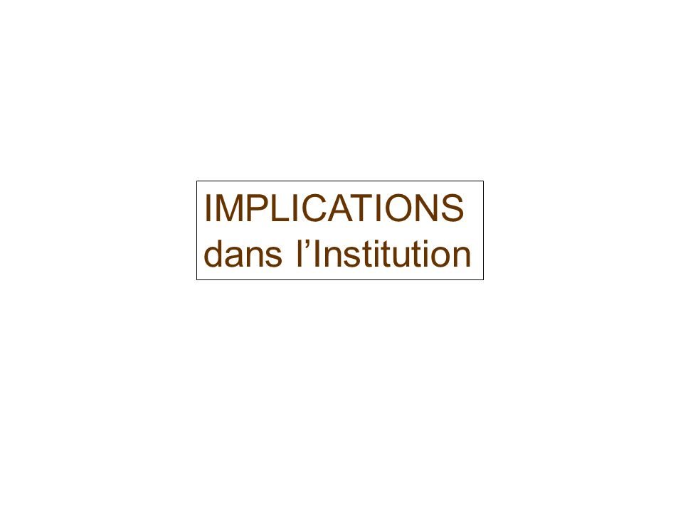 IMPLICATIONS dans l'Institution