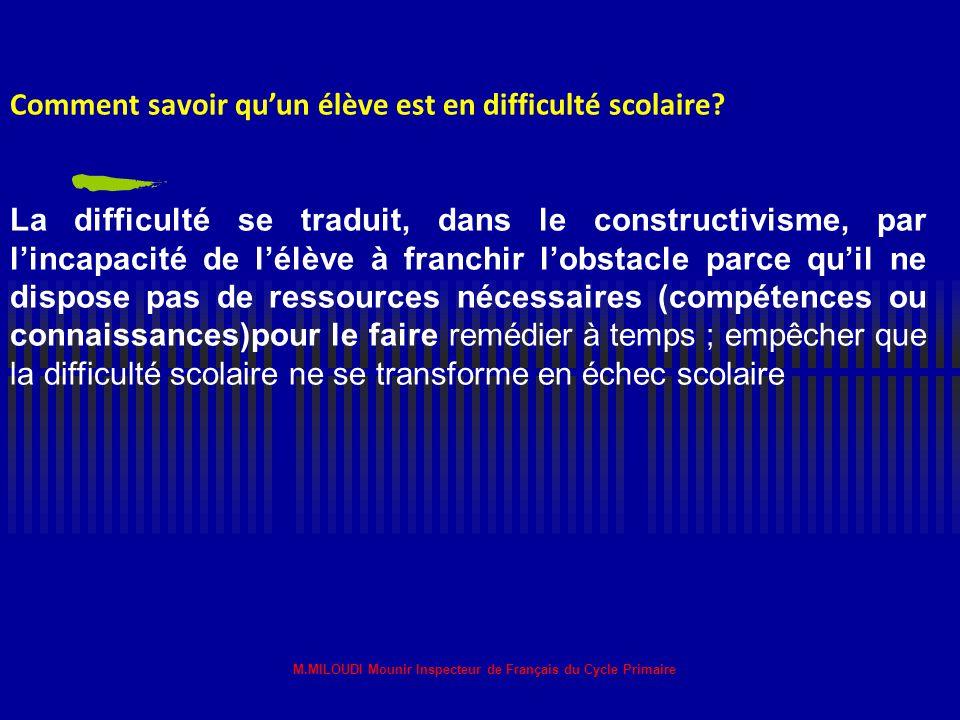 M.MILOUDI Mounir Inspecteur de Français du Cycle Primaire L'élève en échec scolaire L'élève en difficulté est considéré en échec scolaire quand il a a