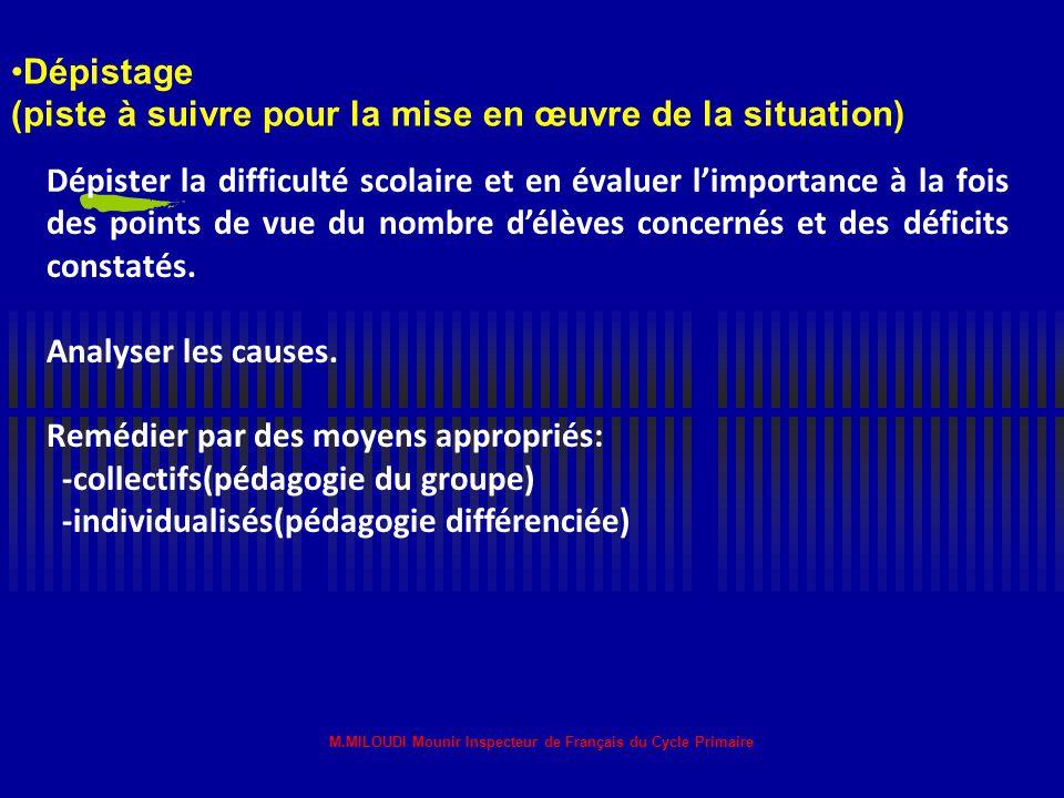 M.MILOUDI Mounir Inspecteur de Français du Cycle Primaire Comment savoir qu'un élève est en difficulté scolaire? La difficulté se traduit, dans le con