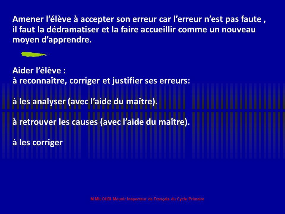 M.MILOUDI Mounir Inspecteur de Français du Cycle Primaire Dépistage (piste à suivre pour la mise en œuvre de la situation) Dépister la difficulté scol