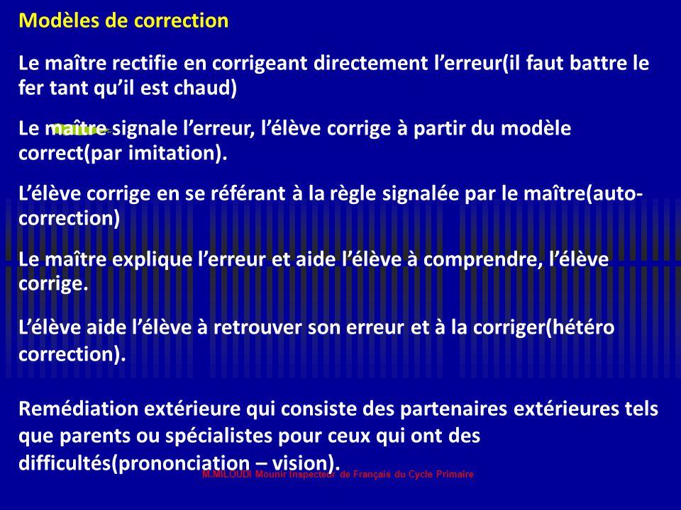 M.MILOUDI Mounir Inspecteur de Français du Cycle Primaire Amener l'élève à accepter son erreur car l'erreur n'est pas faute, il faut la dédramatiser e