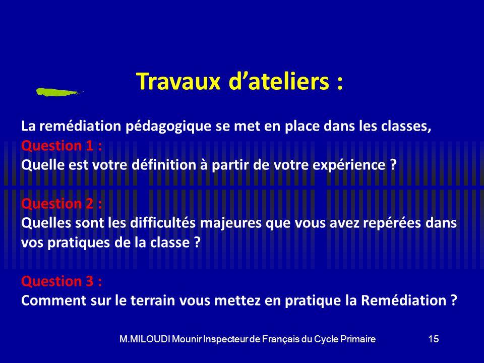 M.MILOUDI Mounir Inspecteur de Français du Cycle Primaire Modèles de correction Le maître rectifie en corrigeant directement l'erreur(il faut battre l