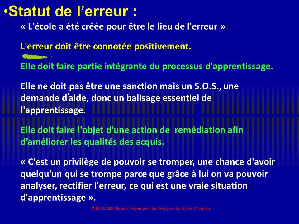 1 M.MILOUDI Mounir Inspecteur de Français du Cycle Primaire Circonscription d'El-Oued Français ½ Journée de formation Portant sur : Comment aider les