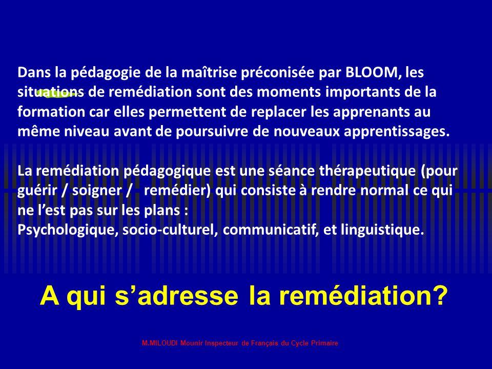 M.MILOUDI Mounir Inspecteur de Français du Cycle Primaire Qu'est ce que la remédiation? Remédiation-remède- remédier: au sens médical du terme (admini