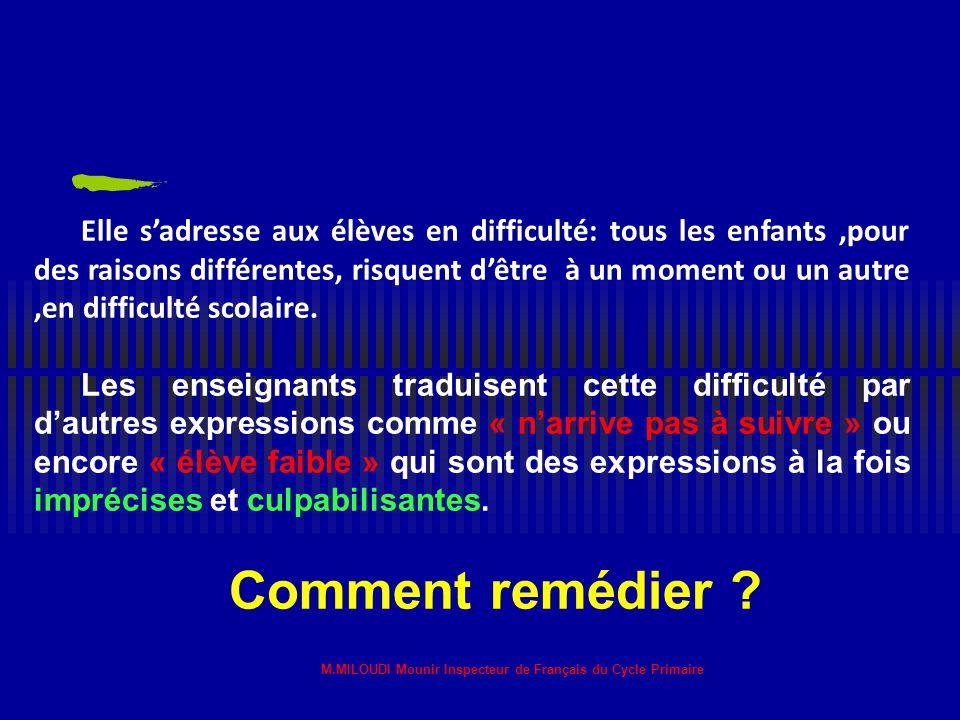 M.MILOUDI Mounir Inspecteur de Français du Cycle Primaire Dans la pédagogie de la maîtrise préconisée par BLOOM, les situations de remédiation sont de