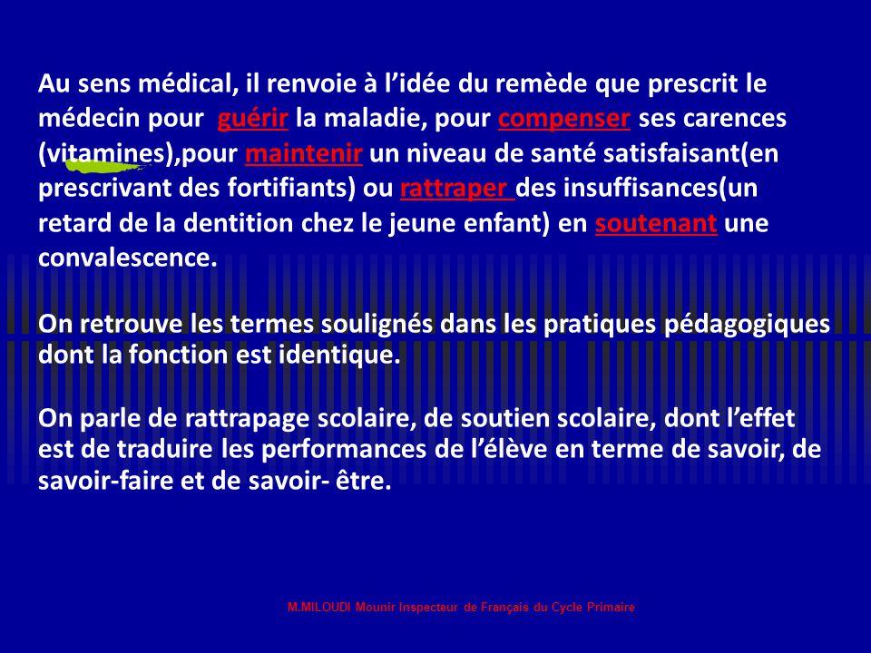M.MILOUDI Mounir Inspecteur de Français du Cycle Primaire Elle s'adresse aux élèves en difficulté: tous les enfants,pour des raisons différentes, risq