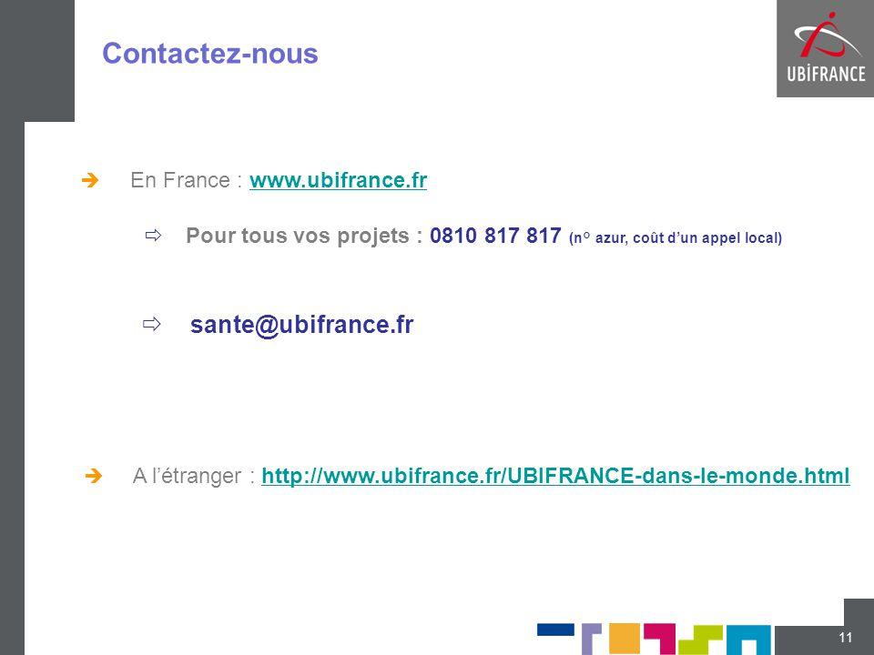 Contactez-nous 11  En France : www.ubifrance.frwww.ubifrance.fr  sante@ubifrance.fr  A l'étranger : http://www.ubifrance.fr/UBIFRANCE-dans-le-monde