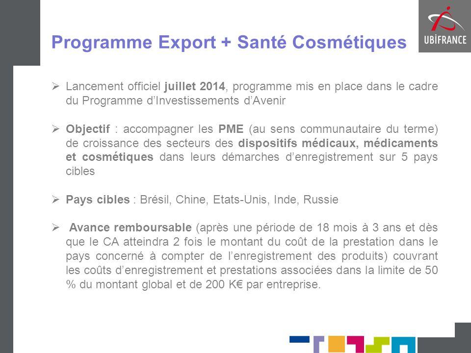 Programme Export + Santé Cosmétiques  Lancement officiel juillet 2014, programme mis en place dans le cadre du Programme d'Investissements d'Avenir 