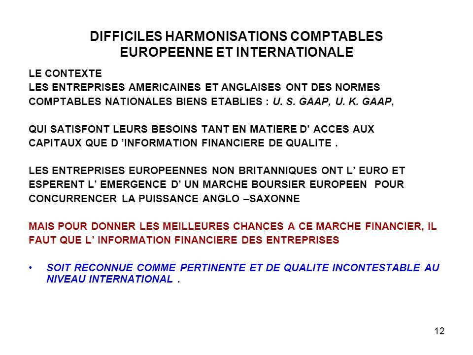 12 DIFFICILES HARMONISATIONS COMPTABLES EUROPEENNE ET INTERNATIONALE LE CONTEXTE LES ENTREPRISES AMERICAINES ET ANGLAISES ONT DES NORMES COMPTABLES NATIONALES BIENS ETABLIES : U.