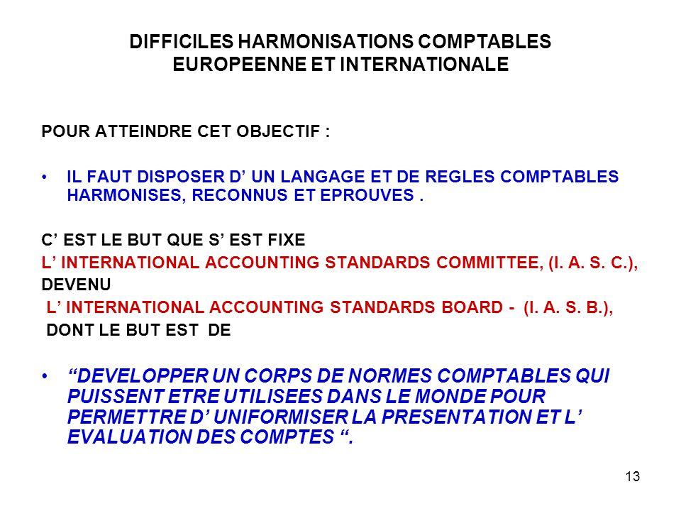 13 DIFFICILES HARMONISATIONS COMPTABLES EUROPEENNE ET INTERNATIONALE POUR ATTEINDRE CET OBJECTIF : IL FAUT DISPOSER D' UN LANGAGE ET DE REGLES COMPTABLES HARMONISES, RECONNUS ET EPROUVES.