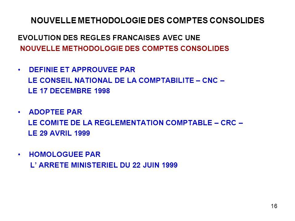 16 NOUVELLE METHODOLOGIE DES COMPTES CONSOLIDES EVOLUTION DES REGLES FRANCAISES AVEC UNE NOUVELLE METHODOLOGIE DES COMPTES CONSOLIDES DEFINIE ET APPROUVEE PAR LE CONSEIL NATIONAL DE LA COMPTABILITE – CNC – LE 17 DECEMBRE 1998 ADOPTEE PAR LE COMITE DE LA REGLEMENTATION COMPTABLE – CRC – LE 29 AVRIL 1999 HOMOLOGUEE PAR L' ARRETE MINISTERIEL DU 22 JUIN 1999