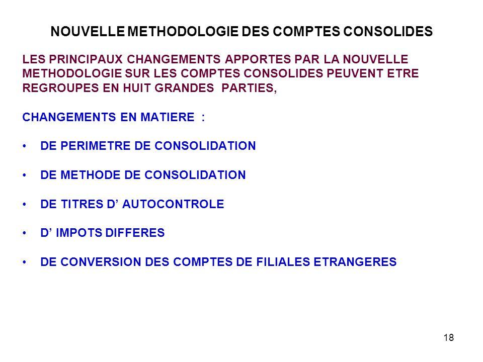 18 NOUVELLE METHODOLOGIE DES COMPTES CONSOLIDES LES PRINCIPAUX CHANGEMENTS APPORTES PAR LA NOUVELLE METHODOLOGIE SUR LES COMPTES CONSOLIDES PEUVENT ETRE REGROUPES EN HUIT GRANDES PARTIES, CHANGEMENTS EN MATIERE : DE PERIMETRE DE CONSOLIDATION DE METHODE DE CONSOLIDATION DE TITRES D' AUTOCONTROLE D' IMPOTS DIFFERES DE CONVERSION DES COMPTES DE FILIALES ETRANGERES