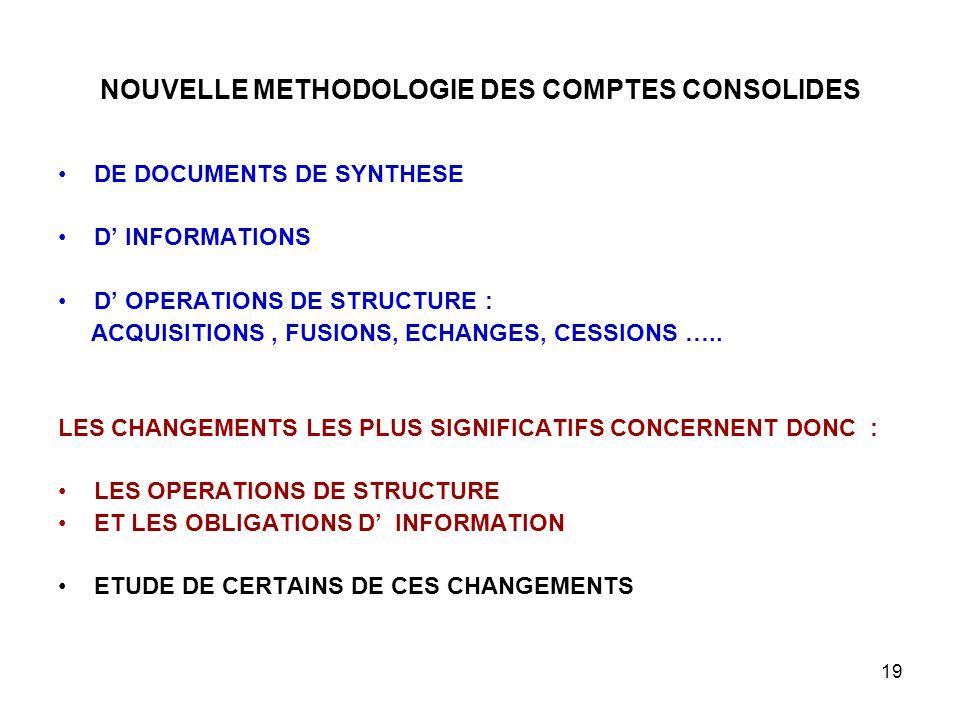 19 NOUVELLE METHODOLOGIE DES COMPTES CONSOLIDES DE DOCUMENTS DE SYNTHESE D' INFORMATIONS D' OPERATIONS DE STRUCTURE : ACQUISITIONS, FUSIONS, ECHANGES, CESSIONS …..