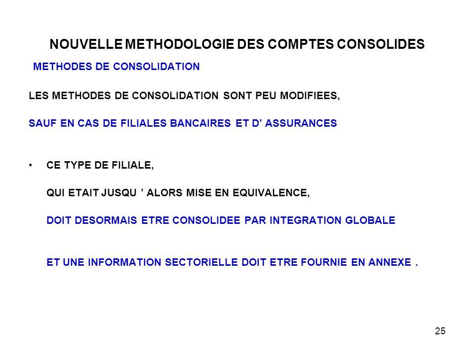 25 NOUVELLE METHODOLOGIE DES COMPTES CONSOLIDES METHODES DE CONSOLIDATION LES METHODES DE CONSOLIDATION SONT PEU MODIFIEES, SAUF EN CAS DE FILIALES BANCAIRES ET D' ASSURANCES CE TYPE DE FILIALE, QUI ETAIT JUSQU ' ALORS MISE EN EQUIVALENCE, DOIT DESORMAIS ETRE CONSOLIDEE PAR INTEGRATION GLOBALE ET UNE INFORMATION SECTORIELLE DOIT ETRE FOURNIE EN ANNEXE.