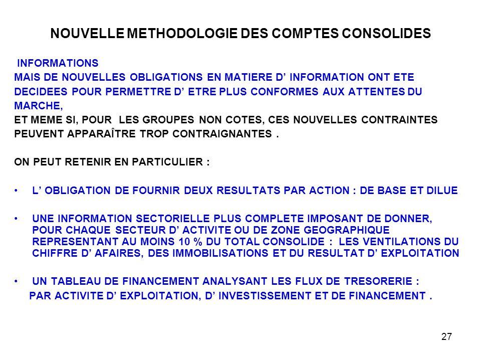 27 NOUVELLE METHODOLOGIE DES COMPTES CONSOLIDES INFORMATIONS MAIS DE NOUVELLES OBLIGATIONS EN MATIERE D' INFORMATION ONT ETE DECIDEES POUR PERMETTRE D' ETRE PLUS CONFORMES AUX ATTENTES DU MARCHE, ET MEME SI, POUR LES GROUPES NON COTES, CES NOUVELLES CONTRAINTES PEUVENT APPARAÎTRE TROP CONTRAIGNANTES.