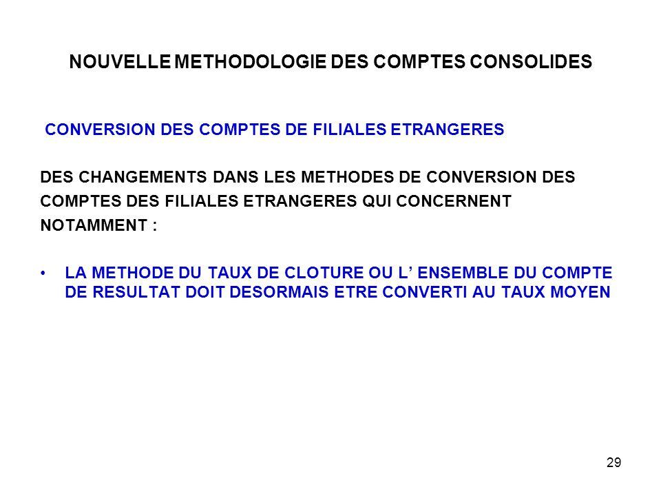 29 NOUVELLE METHODOLOGIE DES COMPTES CONSOLIDES CONVERSION DES COMPTES DE FILIALES ETRANGERES DES CHANGEMENTS DANS LES METHODES DE CONVERSION DES COMPTES DES FILIALES ETRANGERES QUI CONCERNENT NOTAMMENT : LA METHODE DU TAUX DE CLOTURE OU L' ENSEMBLE DU COMPTE DE RESULTAT DOIT DESORMAIS ETRE CONVERTI AU TAUX MOYEN