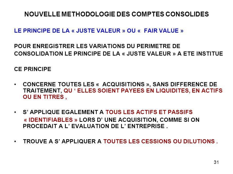 31 NOUVELLE METHODOLOGIE DES COMPTES CONSOLIDES LE PRINCIPE DE LA « JUSTE VALEUR » OU « FAIR VALUE » POUR ENREGISTRER LES VARIATIONS DU PERIMETRE DE CONSOLIDATION LE PRINCIPE DE LA « JUSTE VALEUR » A ETE INSTITUE CE PRINCIPE CONCERNE TOUTES LES « ACQUISITIONS », SANS DIFFERENCE DE TRAITEMENT, QU ' ELLES SOIENT PAYEES EN LIQUIDITES, EN ACTIFS OU EN TITRES, S' APPLIQUE EGALEMENT A TOUS LES ACTIFS ET PASSIFS « IDENTIFIABLES » LORS D' UNE ACQUISITION, COMME SI ON PROCEDAIT A L' EVALUATION DE L' ENTREPRISE.