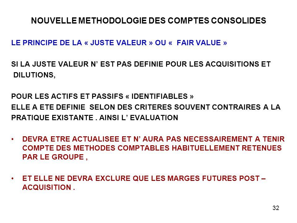 32 NOUVELLE METHODOLOGIE DES COMPTES CONSOLIDES LE PRINCIPE DE LA « JUSTE VALEUR » OU « FAIR VALUE » SI LA JUSTE VALEUR N' EST PAS DEFINIE POUR LES ACQUISITIONS ET DILUTIONS, POUR LES ACTIFS ET PASSIFS « IDENTIFIABLES » ELLE A ETE DEFINIE SELON DES CRITERES SOUVENT CONTRAIRES A LA PRATIQUE EXISTANTE.