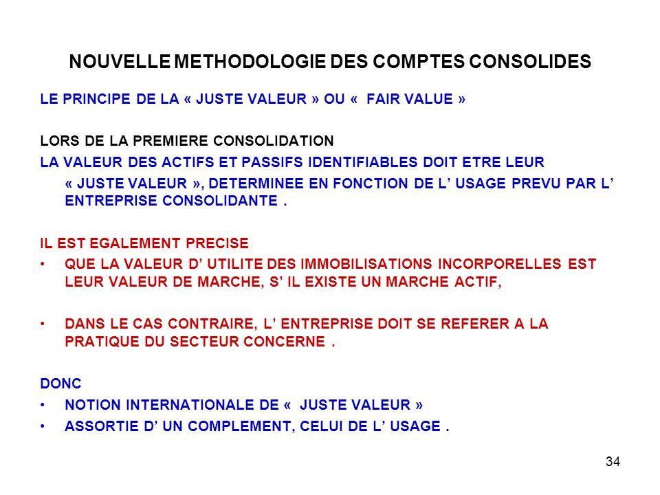 34 NOUVELLE METHODOLOGIE DES COMPTES CONSOLIDES LE PRINCIPE DE LA « JUSTE VALEUR » OU « FAIR VALUE » LORS DE LA PREMIERE CONSOLIDATION LA VALEUR DES ACTIFS ET PASSIFS IDENTIFIABLES DOIT ETRE LEUR « JUSTE VALEUR », DETERMINEE EN FONCTION DE L' USAGE PREVU PAR L' ENTREPRISE CONSOLIDANTE.