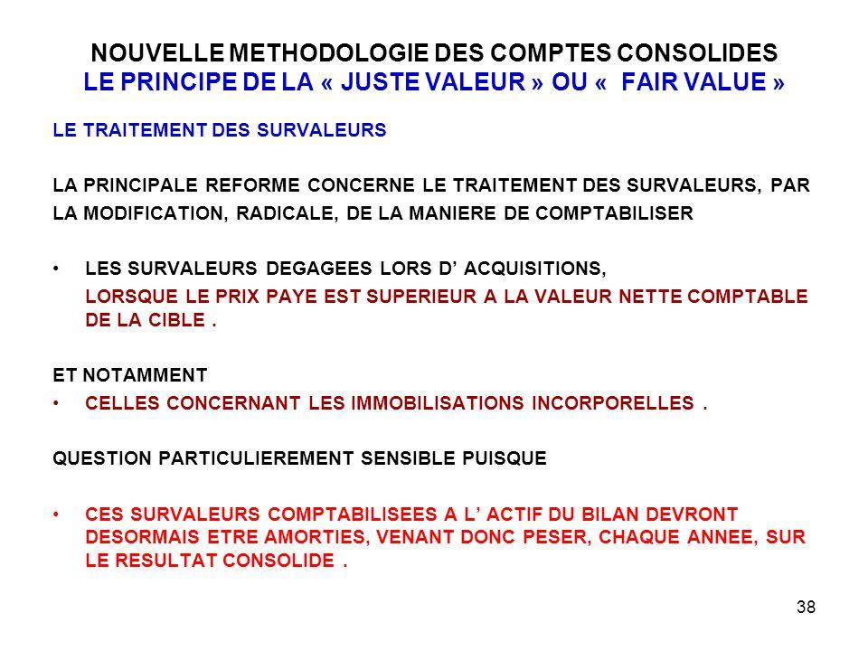 38 NOUVELLE METHODOLOGIE DES COMPTES CONSOLIDES LE PRINCIPE DE LA « JUSTE VALEUR » OU « FAIR VALUE » LE TRAITEMENT DES SURVALEURS LA PRINCIPALE REFORME CONCERNE LE TRAITEMENT DES SURVALEURS, PAR LA MODIFICATION, RADICALE, DE LA MANIERE DE COMPTABILISER LES SURVALEURS DEGAGEES LORS D' ACQUISITIONS, LORSQUE LE PRIX PAYE EST SUPERIEUR A LA VALEUR NETTE COMPTABLE DE LA CIBLE.