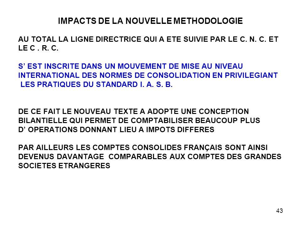 43 IMPACTS DE LA NOUVELLE METHODOLOGIE AU TOTAL LA LIGNE DIRECTRICE QUI A ETE SUIVIE PAR LE C.