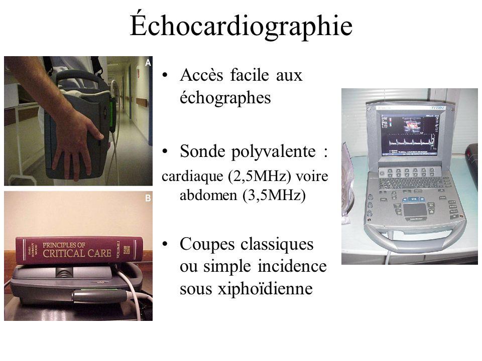 Échocardiographie Accès facile aux échographes Sonde polyvalente : cardiaque (2,5MHz) voire abdomen (3,5MHz) Coupes classiques ou simple incidence sou