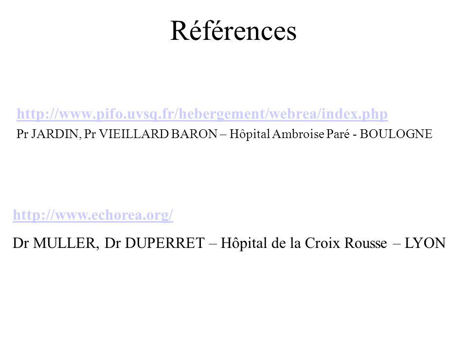 Références http://www.pifo.uvsq.fr/hebergement/webrea/index.php Pr JARDIN, Pr VIEILLARD BARON – Hôpital Ambroise Paré - BOULOGNE http://www.echorea.or