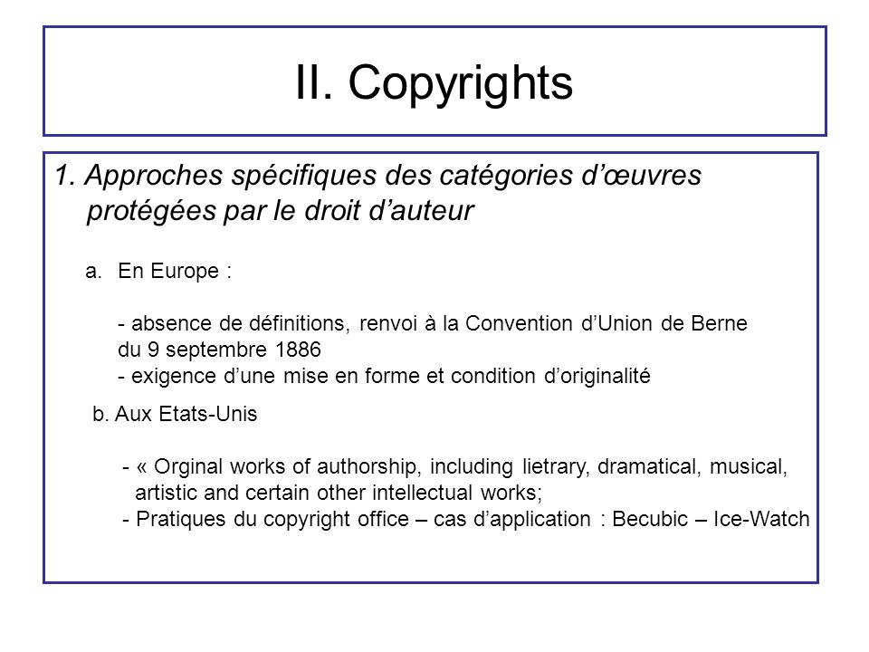 II. Copyrights 1.