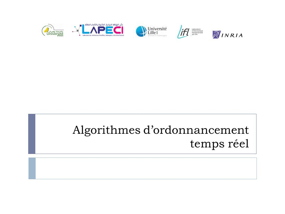 Earliest Deadline First T 1 (R 1 =0, C 1 =3, D 1 =7, P 1 =20), T 2 (R 2 =0, C 2 =2, D 2 =4, P 2 =5) et T 3 (R 3 =0, C 3 =1, D 3 =8, P 3 =10)