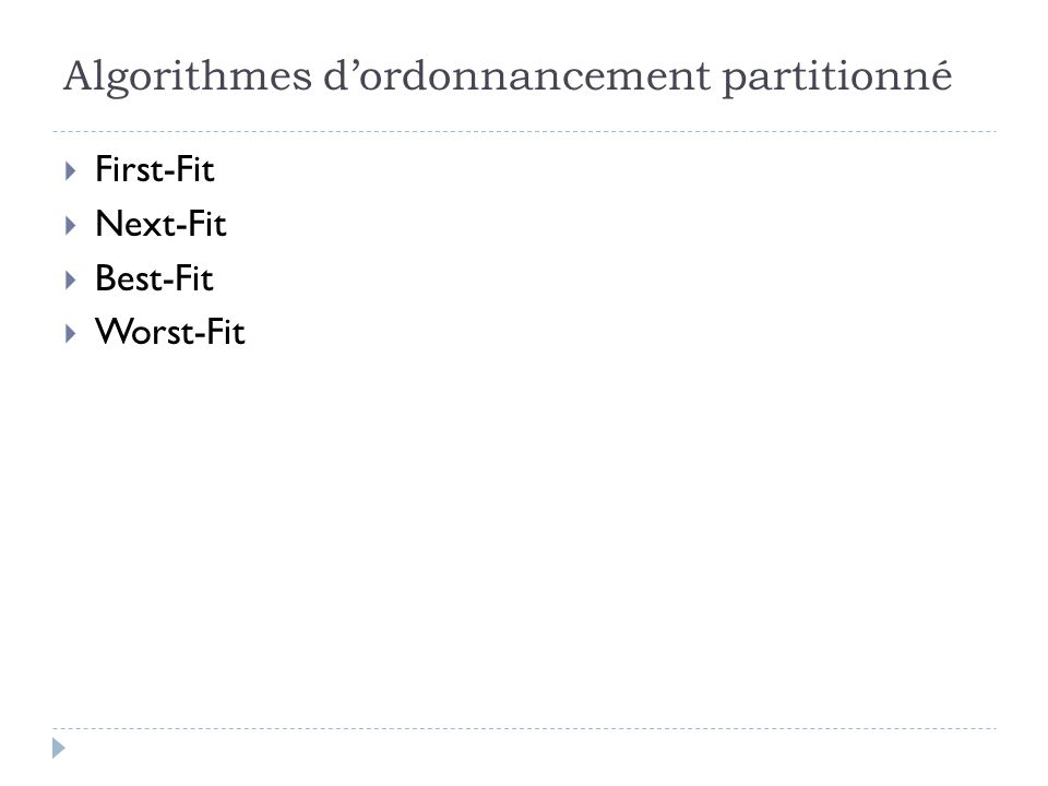 Algorithmes d'ordonnancement partitionné  First-Fit  Next-Fit  Best-Fit  Worst-Fit