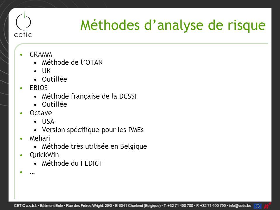 Méthodes d'analyse de risque CRAMM Méthode de l'OTAN UK Outillée EBIOS Méthode française de la DCSSI Outillée Octave USA Version spécifique pour les P