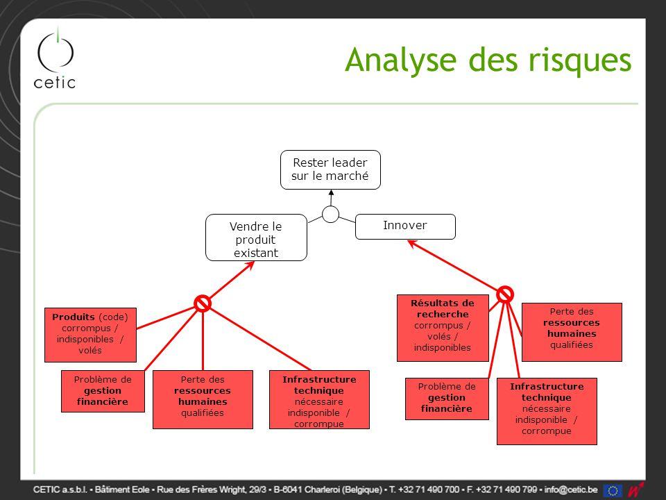 Analyse des risques Rester leader sur le marché Vendre le produit existant Innover Résultats de recherche corrompus / volés / indisponibles Infrastruc