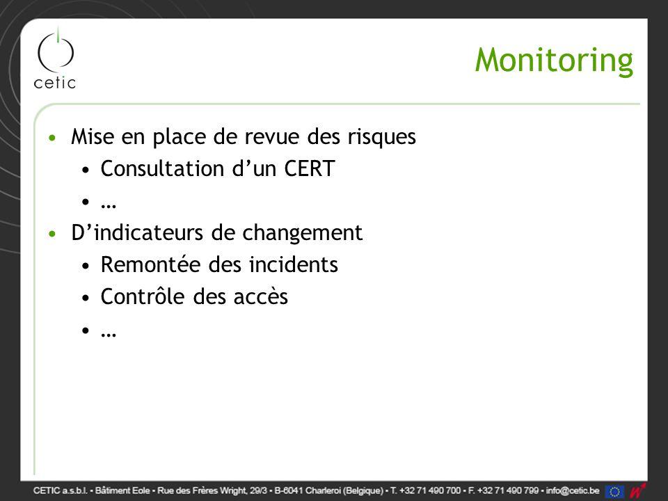 Monitoring Mise en place de revue des risques Consultation d'un CERT … D'indicateurs de changement Remontée des incidents Contrôle des accès …