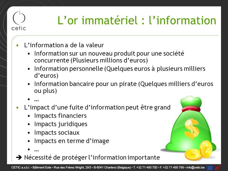 L'or immatériel : l'information L'information a de la valeur Information sur un nouveau produit pour une société concurrente (Plusieurs millions d'eur