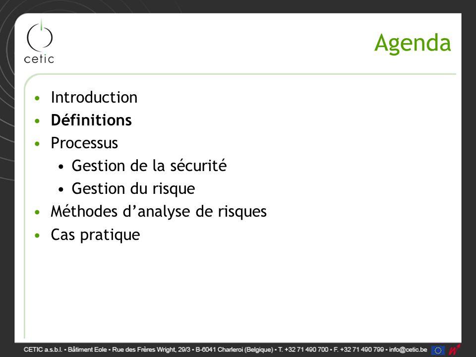 Quelques définitions Actif (Asset): élément du SI qui a de la valeur pour l'organisation (donnée papier/informatique, personnel, Infrastructure, …) Menace (Threat): évènement qui peut mettre en défaut la sécurité d'un actif Vulnérabilité (Vulnerability): faille du système permettant à une menace de se réaliser en impactant la sécurité d'un actif Risque (Risk): la probabilité qu'une menace exploite une vulnérabilité en mettant en défaut la sécurité d'un actif et provoque un impact pour l'entreprise  R = P x I  Certaines variantes sont plus complexes