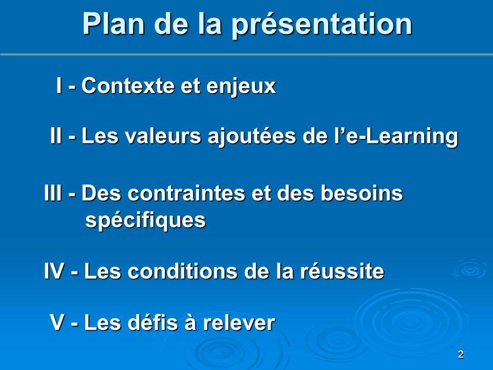 Plan de la présentation I - Contexte et enjeux I - Contexte et enjeux III - Des contraintes et des besoins spécifiques II - Les valeurs ajoutées de l'