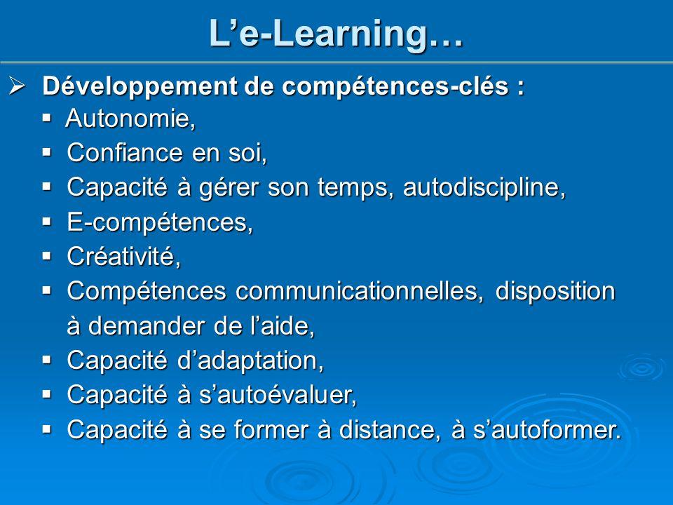  Développement de compétences-clés :  Autonomie,  Confiance en soi,  Capacité à gérer son temps, autodiscipline,  E-compétences,  Créativité, 