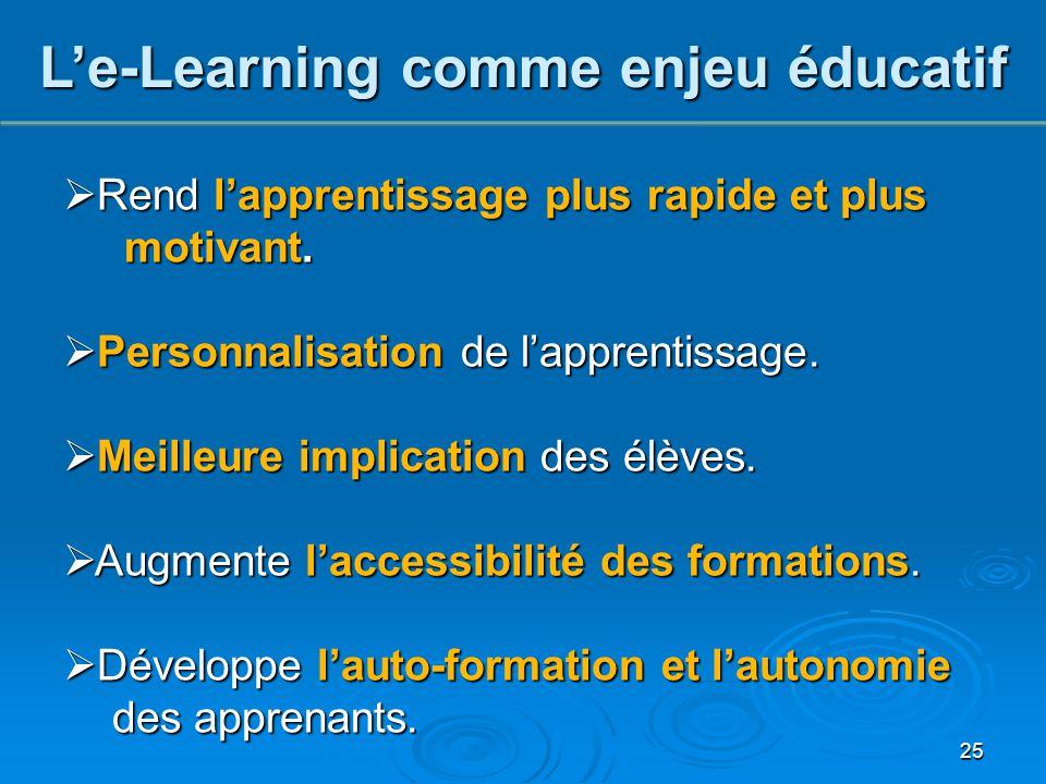 25 L'e-Learning comme enjeu éducatif  Rend l'apprentissage plus rapide et plus motivant. motivant.  Personnalisation de l'apprentissage.  Meilleure